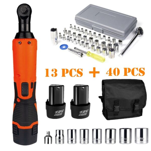 3 8quot; 1 4quot;Electric Cordless Ratchet Wrench Impact Power Tool 2 Battery41 Sockets $56.98