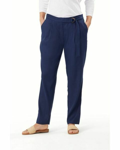 NWT Tommy Bahama Women#x27;s Pants Willa Linen Stretch Island Navy Size 4 $52.00