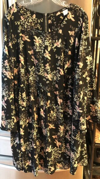 Womens ING Plus Dress Baby Doll Black with Bird and Floral Print Size 2X NWOT $19.99