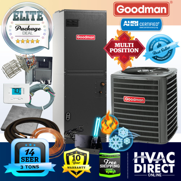 Goodman 3 Ton 14 SEER AC System w Aux Electric Heat Line Set Install Kit $2050.00
