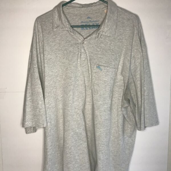 🌴 TOMMY BAHAMA 🌴 RELAX MEN'S GRAY POLO SHORT SLEEVE SHIRT SIZE XLT $19.99