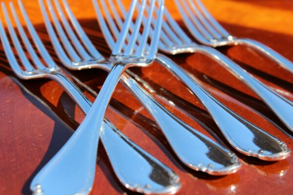 Christofle Pompadour Silver Plated Table Forks Set of Six