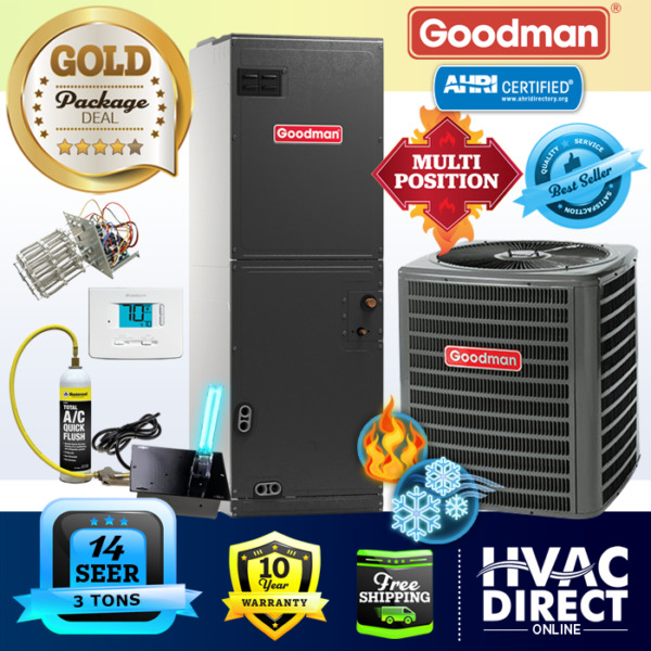 Goodman 3 Ton 14 SEER AC System w Aux Electric Heat Replacement Install Kit $1956.00
