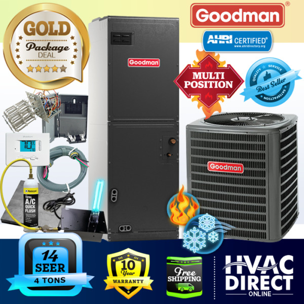 Goodman 4 Ton 14 SEER AC System w Aux Electric Heat Replacement Install Kit $2509.00