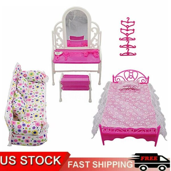 Kids Toy Pink Bed Dressing Table Sofa Hangers Dollhouse Furniture For Doll USA $10.39