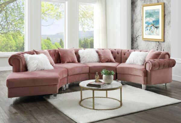 Contemporary Living Room Furniture Sectional Sofa Pink Velvet Button Tufted $2749.99