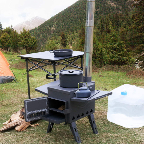 Outdoor Wood Burning Stove Chimney Portable Camping Heating Cooking Tent Heater $215.99