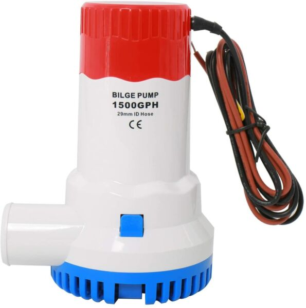 12V 1500GPH Boat Plumbing Electric Bilge Pump 29mm ID Hose for Boat Marine Yacht