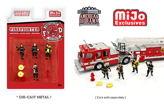 FIRE FIGHTER FIGURE SET 1 64 SCALE DIECAST CAR MODEL BY AMERICAN DIORAMA 76468