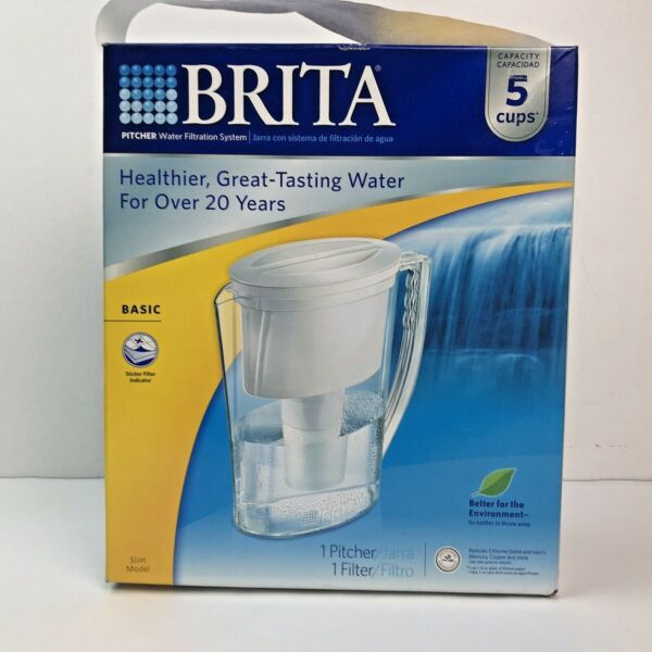 Brita Slim 5 Cup White New Water Pitcher amp; Filter