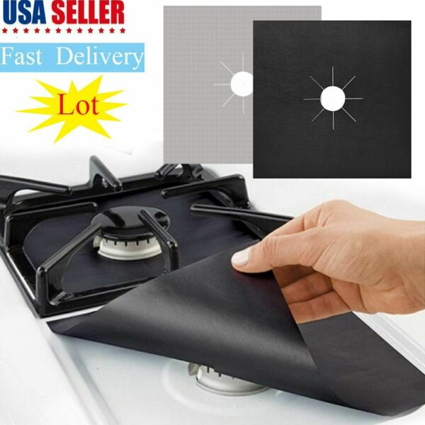 10Pcs Stove Burner Covers Gas Range Protectors Gas Cooktop Liner Cover Clean Mat
