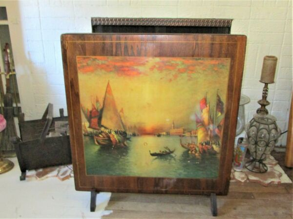 VINTAGE MURRAY WOODEN FOLDING BRIDGE TABLE FIRE SCREEN W Venice Scene