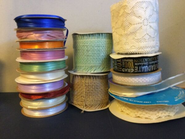 Mixed lot of 20 Rolls of Crafting Ribbon: Mixed Colors Sizes Lengths Material