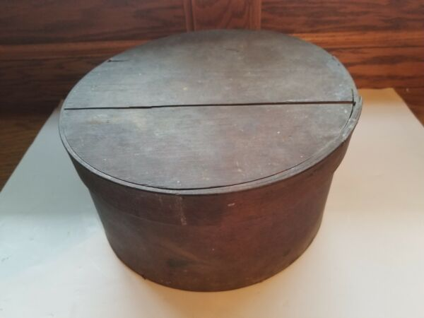 Antique 19th Century New England Primitive Bent Wood Pantry Box 10quot; dia