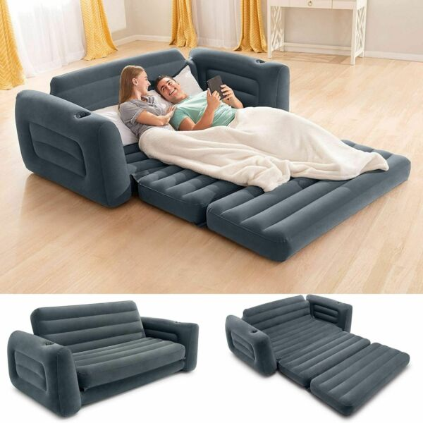 Sofa Bed Sleeper Queen Size Inflatable Air Folding Futon Couch Convertible Gray
