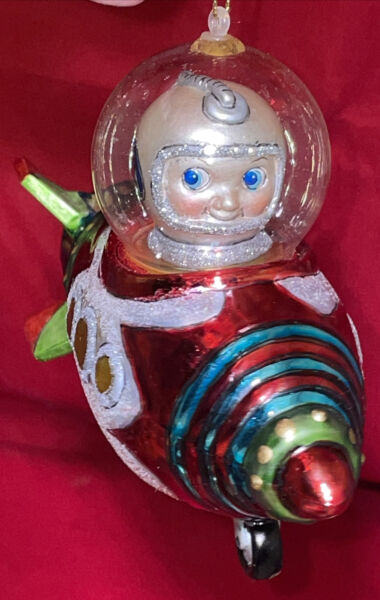 Glass Spaceship w Astronaut Ornament Retro Style Big Blue Eyes rocket ship #6 $55.00