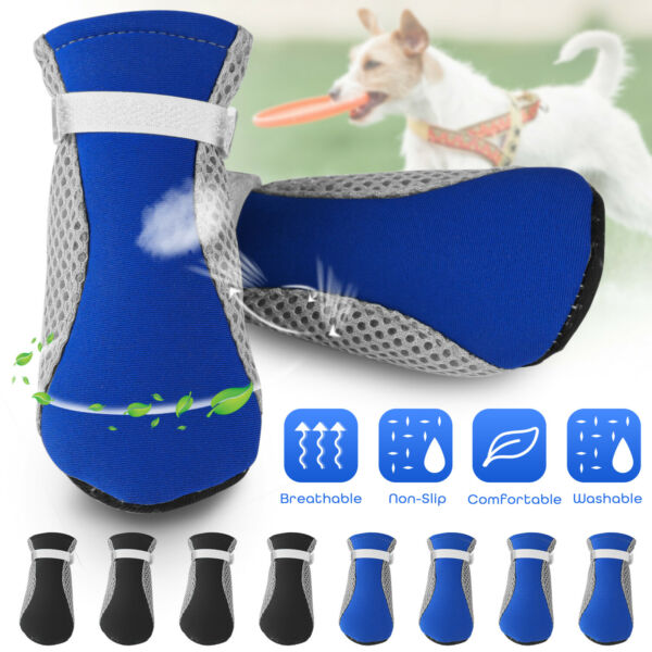 4PCS Mesh Pet Dog Boots Breathable Puppy Shoes Anti slip Protective Summer Socks $8.93