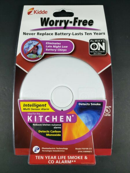 Kidde 10 Year Kitchen WORRY FREE Battery Operated Smoke Alarm Carbon Monoxide $19.99