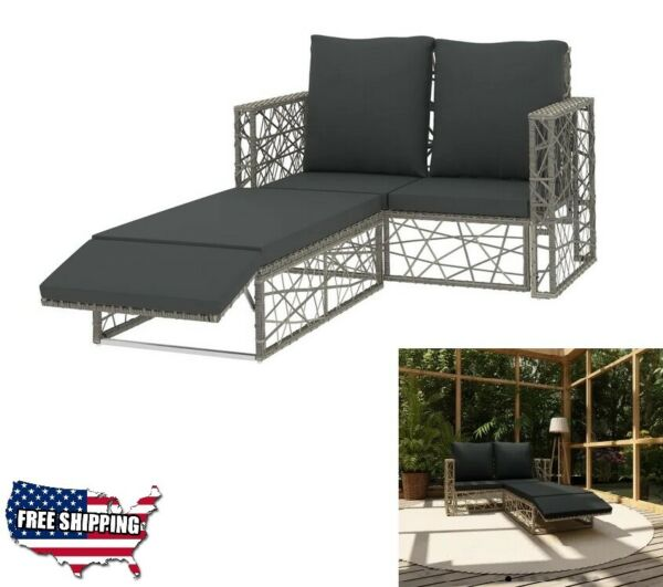 Patio Furniture Sets Clearance Rattan Garden Sofa Lounge Cushions Footrest 2 pc