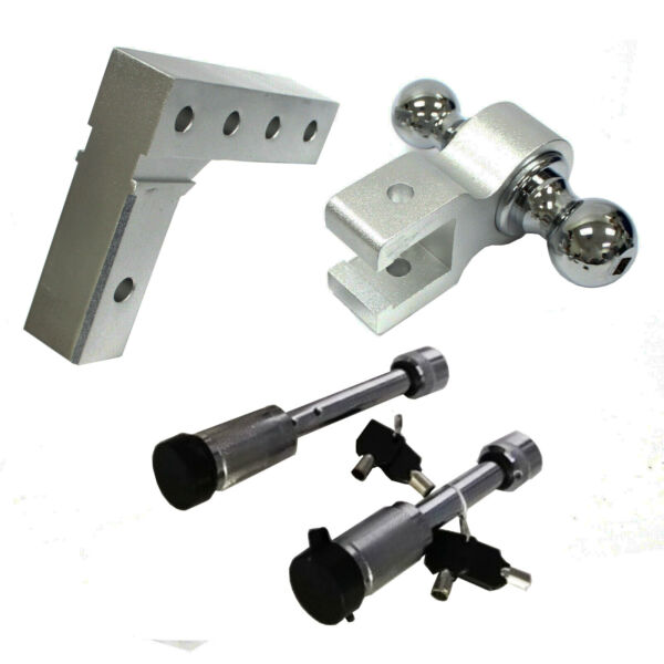 Aluminum Dual Ball 6quot; Drop Adjustable for Trailer Tow Towing Hitch W Hitch Lock $84.50