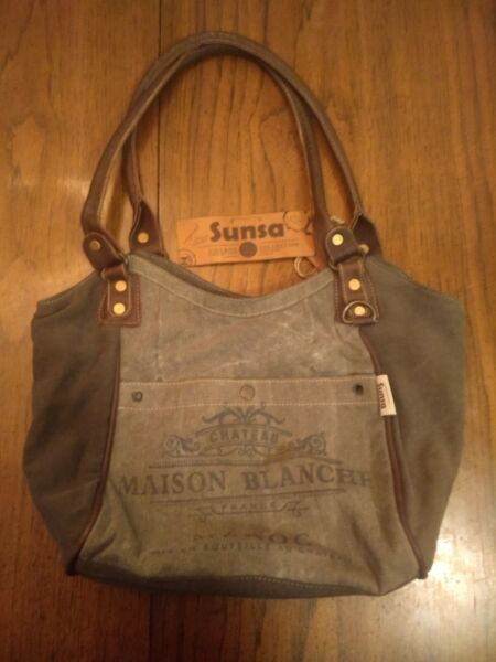 Sunsa Vintage Handbag made from recycled military tents amp; military truck tarps