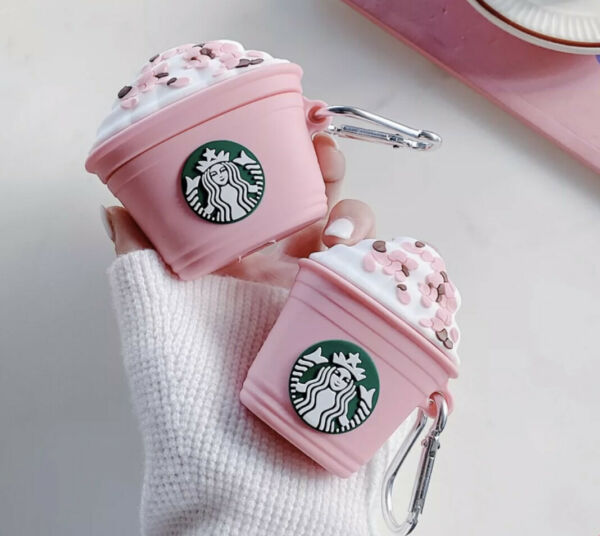 Soft Silicone AirPods Case Cute Pink White Brown Starbucks Case for Pro 1 2 $9.99