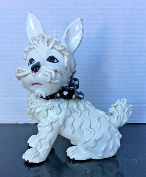 Vintage Spaghetti White Terrier Dog Made in Italy $18.00