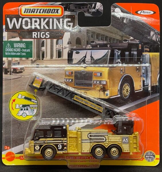 Matchbox 2021 Working Rigs Case K Pierce Velocity Aerial Platform Fire Truck