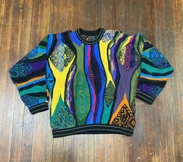 Vintage 1990s Coogi Sweater Biggie Small Hip Hop Multicolor $400.00