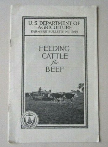 1935 Feeding Cattle for Beef Farmers#x27; Bulletin #1549 US Dept Agriculture E9H 11 $13.95