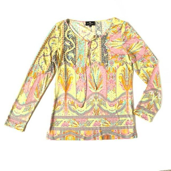 Etro Womens M Colorful Floral Blouse Tie Keyhole Neck Long Sleeve Top yellow $35.00