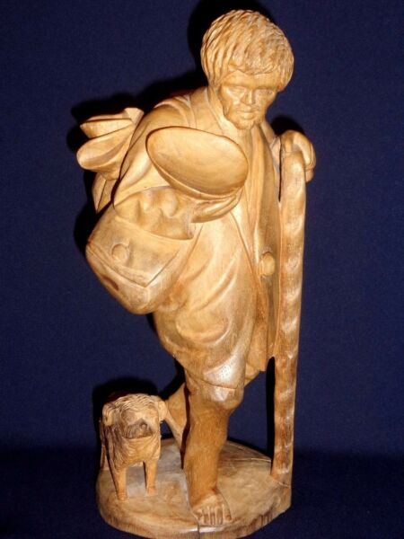 Vintage Hand Carved Wood Figure Man amp; Dog Traveling 10quot; tall $39.00