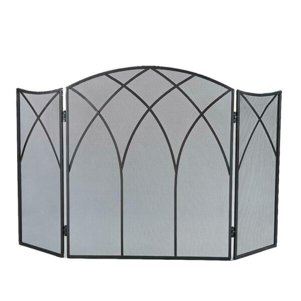 Gothic Black Steel 3 Panel Fireplace Screen Protect from Fly Away Sparks Durable