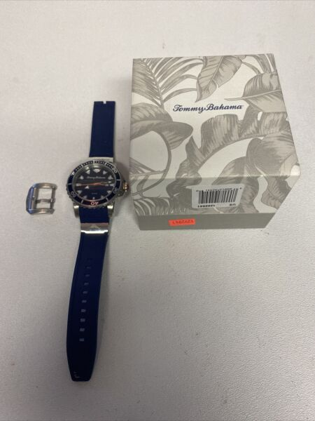 Tommy Bahama Men#x27;s TB00101 01 Blue Dial Watch w Blue Rubber Band Defect $35.00