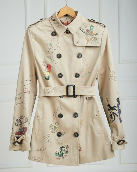 BURBERRY COAT TRENCH BEIGE COLOR CHECKED INSIDE SKECH WOMAN SIZE L GENUINE $248.50