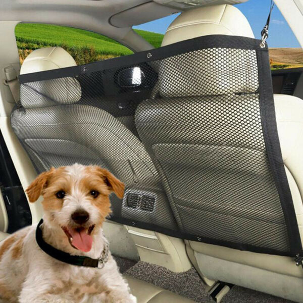 Car Dog Barrier Rear Seat Safety Isolation Mesh Baby Safety Divider for Pets $13.77