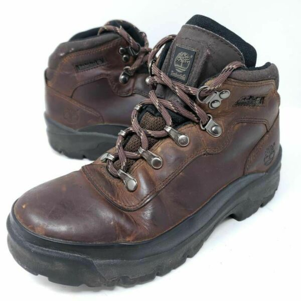 Timberland Boys Hiking Boots Brown Leather Lace Up Round Toe Outdoor Youth 4 M $24.95
