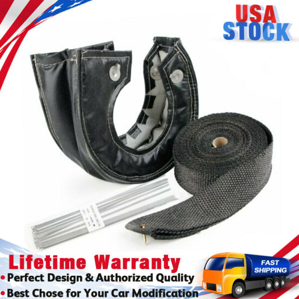 T3 Black Carbon Turbo Heat Shield Blanket Cover amp; 50FT Exhaust Header Wrap Tape $35.99
