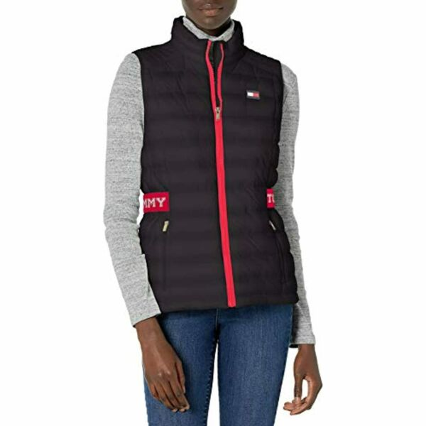 $99 Tommy Hilfiger Quilted Vest with Tommy Logo Elastic Cinch Waist Black Small $35.00