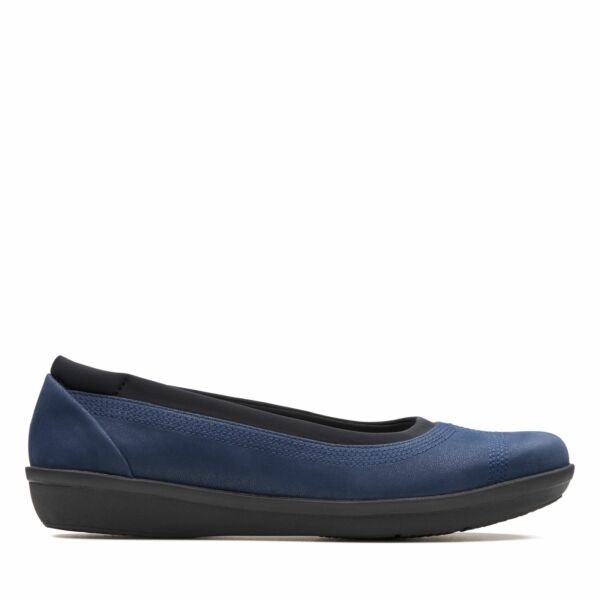 Clarks Cloudsteppers Womens Ayla Low Navy Blue Textile Ballet Flats