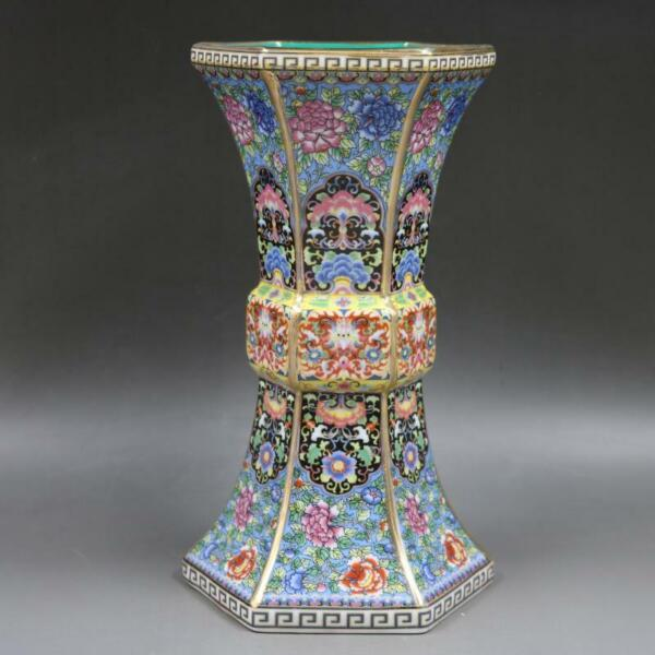 Chinese Colour Enamel Porcelain Hand Painted Flowers Design Bottle Vase 10 inch $49.99