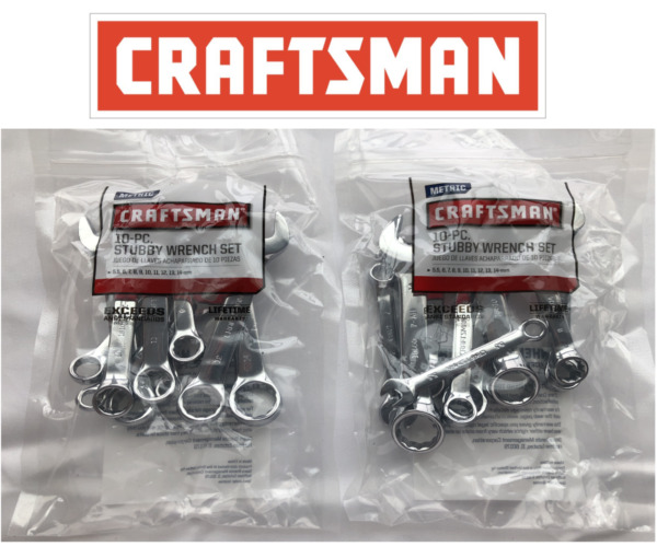CRAFTSMAN Polished Stubby Wrench Sets 10 Pc SAE Inch 10 Pc Metric choose a set