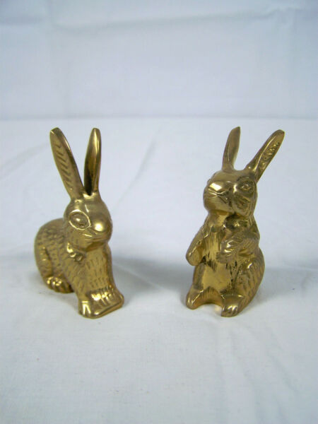 Vintage Pair of Small Brass Rabbits