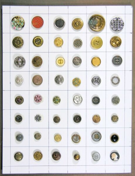 48 SMALL ANTIQUE VICTORIAN MOSTLY METAL BUTTONS Ramp;I RY. ROCKFORD INTERURBAN