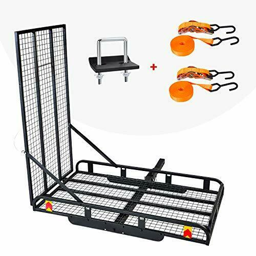 Hitch Mount Steel Cargo Carrier Basket with Folding Wheelchair Ramp Fits Trailer $238.90