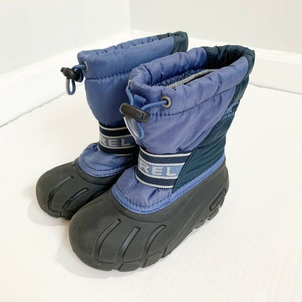 Sorel Little Kid Size 10 Cub Snow Boots Waterproof Blue Rubber Soles Insulated