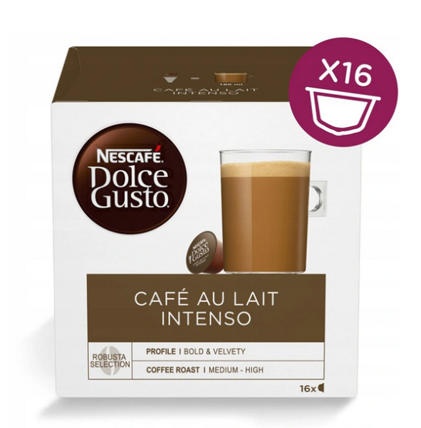 NESCAFE DOLCE GUSTO CAPSULES CAFE AU LAIT INTENSO 16 PODS = 16 COFFEE