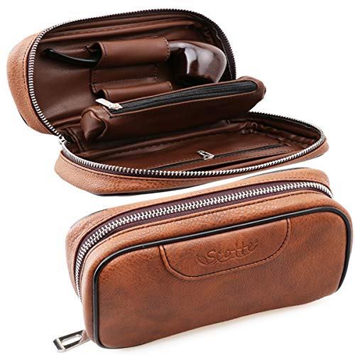 Scotte PU Leather Tobacco Smoking Wood Pipe Pouch case Bag for 2 Tobacco Pipe $25.98