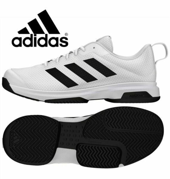 NIB Adidas Men#x27;s Game Spec Athletic Tennis Shoes Black White Various Size
