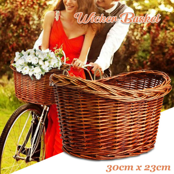 10.9'' Vintage Retro Wicker Bike Bicycle Basket Brown Leather Front Dog Carrier $22.88